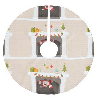 schwarzer Kamin-Weihnachtsbaumrock Sankt fester Polyester Weihnachtsbaumdecke