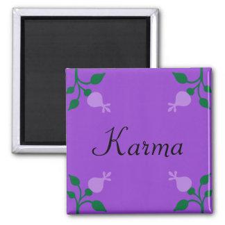 Schwarzer Karma-Lavendel, grüne Blumen-Knospen Quadratischer Magnet