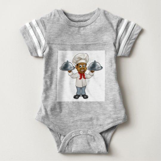 Schwarzer Kochs-Cartoon-Charakter Babybody