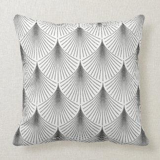 Schwarzer Kunst-Deko geometrisches Muster auf Weiß Kissen