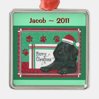 Schwarzer Labrador-personalisierte Verzierung Quadratisches Silberfarbenes Ornament