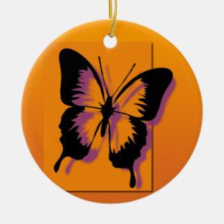 Schwarzer lila Schmetterling Keramik Ornament