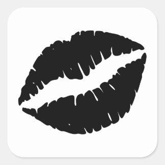 Schwarzer Lippenstift Quadrat-Aufkleber