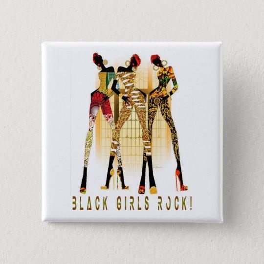 Schwarzer Mädchen-Felsen! Quadratischer Button 5,1 Cm