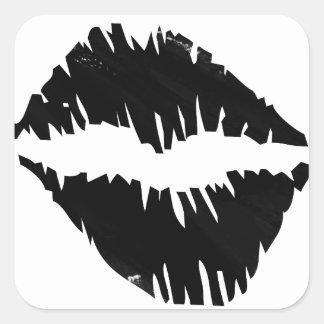 Schwarzer Markierung Goth Kuss Quadratischer Aufkleber