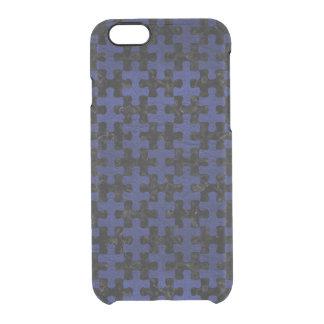 SCHWARZER MARMOR PUZZLE1 U. BLAUES LEDER DURCHSICHTIGE iPhone 6/6S HÜLLE