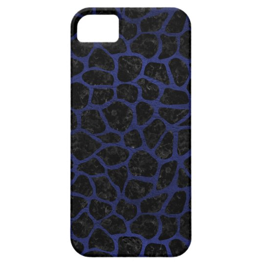 SCHWARZER MARMOR SKIN1 U. BLAUES LEDER (R) BARELY THERE iPhone 5 HÜLLE