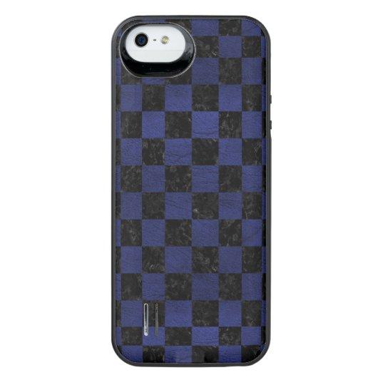 SCHWARZER MARMOR SQUARE1 U. BLAUES LEDER iPhone SE/5/5s BATTERIE HÜLLE