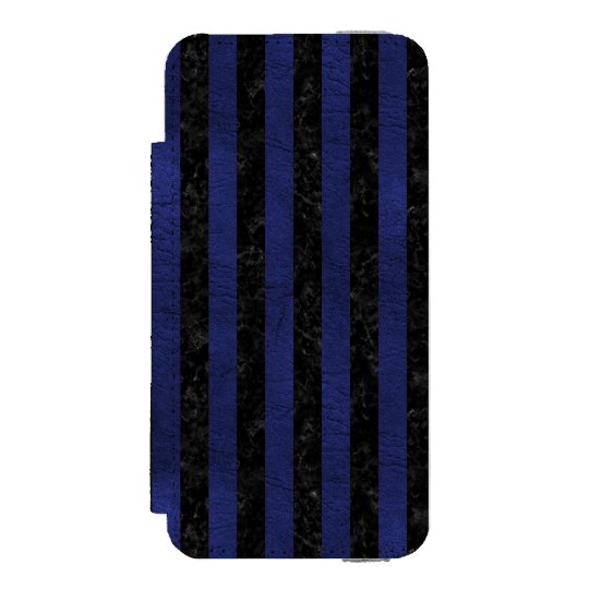 SCHWARZER MARMOR STRIPES1 U. BLAUES LEDER INCIPIO WATSON™ iPhone 5 GELDBÖRSEN HÜLLE