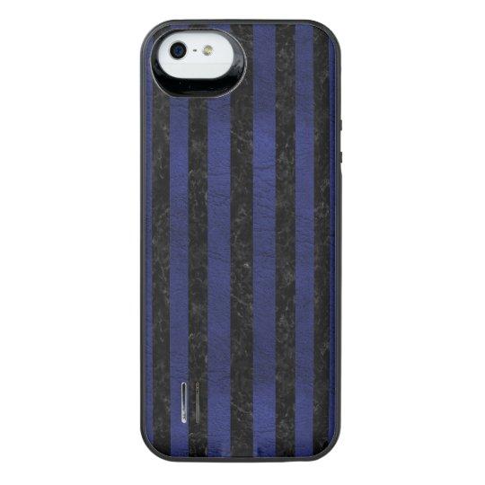 SCHWARZER MARMOR STRIPES1 U. BLAUES LEDER iPhone SE/5/5s BATTERIE HÜLLE