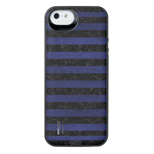 SCHWARZER MARMOR STRIPES2 U. BLAUES LEDER iPhone SE/5/5s BATTERIE HÜLLE