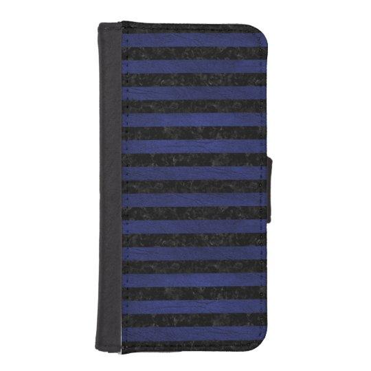 SCHWARZER MARMOR STRIPES2 U. BLAUES LEDER iPhone SE/5/5s GELDBEUTEL HÜLLE