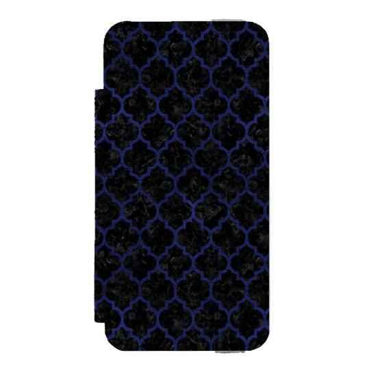 SCHWARZER MARMOR TILE1 U. BLAUES LEDER INCIPIO WATSON™ iPhone 5 GELDBÖRSEN HÜLLE