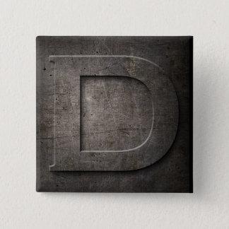 Schwarzer Monogramm-Quadrat Bronzeknopf des Quadratischer Button 5,1 Cm