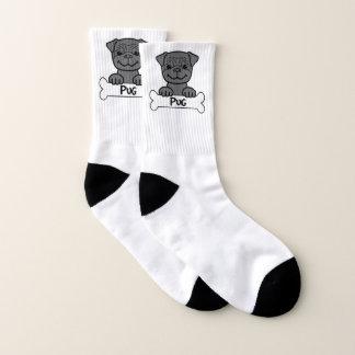 Schwarzer Mops auf einem Knochen Socken