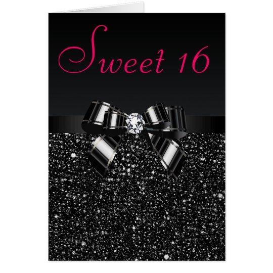 Schwarzer Paillette-, Bogen-u. Diamant-Bonbon 16 Mitteilungskarte