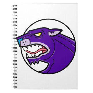 Schwarzer Panther-Knurrenmonolinie Spiral Notizblock
