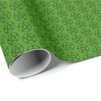 Schwarzer Pentagram auf Grün Geschenkpapier