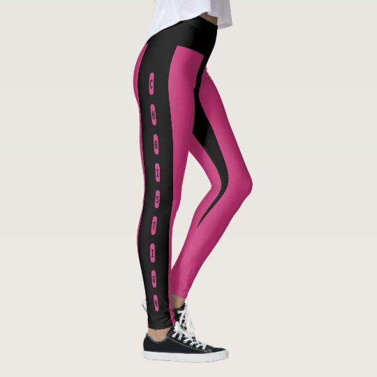 Schwarzer rosa Streifen-Muster-individueller Name Leggings