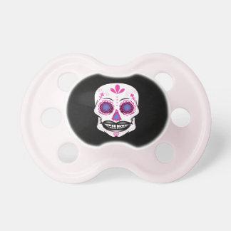 Schwarzer rosa Süßigkeits-Schädel-Schnuller Schnuller