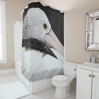 Schwarzer rosa weißer Pelikan Duschvorhang