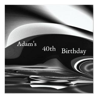 Schwarzer silberner abstrakter 2 40. quadratische 13,3 cm einladungskarte