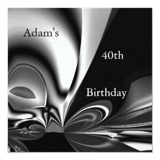 Schwarzer silberner abstrakter 40. quadratische 13,3 cm einladungskarte