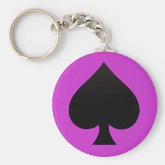 Schwarzer Spaten - Karten Anzug, Poker, Stange Schlüsselanhänger