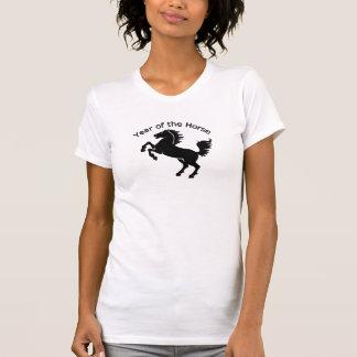 Schwarzer Stallions-chinesisches Jahr des Pferds T-Shirt
