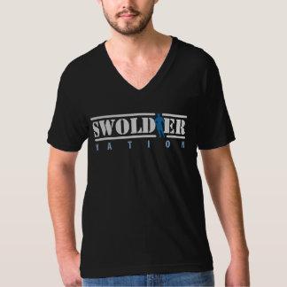 Schwarzer Swoldier Nation V-Hals T-Shirt