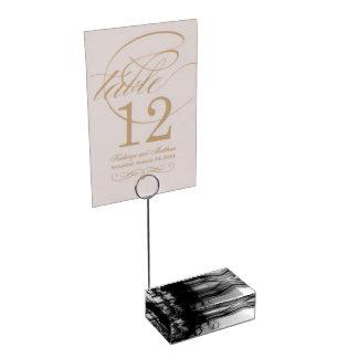 Schwarzer Tabellen-Kartenhalter des Feuer-II durch Platzkartenhalter