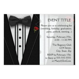Schwarzer Tuxedo mit Bogen-Krawatte 12,7 X 17,8 Cm Einladungskarte