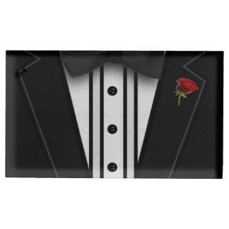 Schwarzer Tuxedo mit Bogen-Krawatte Platzkartenhalter