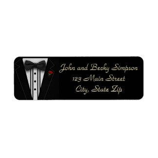 Schwarzer Tuxedo mit Bogen-Krawatte Rücksende Aufkleber