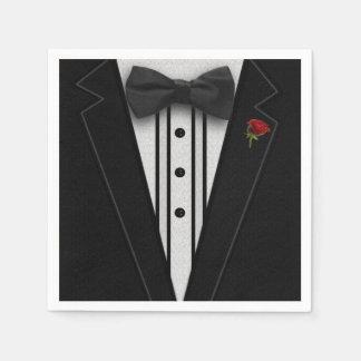 Schwarzer Tuxedo mit Bogen-Krawatte Serviette