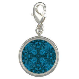 Schwarzer u. blauer Vintager Muster-Charme Foto Charms