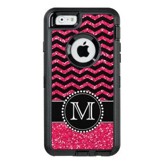 Schwarzer u. rosa Glitter-Zickzack mit Monogramm OtterBox iPhone 6/6s Hülle