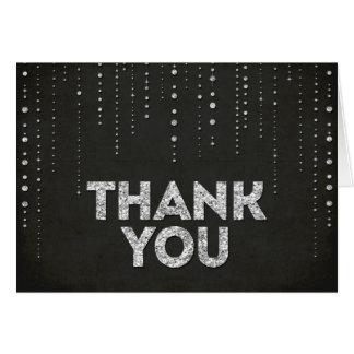 Schwarzer u. silberner Glitter-Blick danken Ihnen Karten