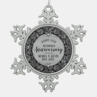 Schwarzer u. silberner Rahmen-25. Hochzeitstag Schneeflocken Zinn-Ornament