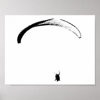 Schwarzer u. weißer Fallschirm - Plakat