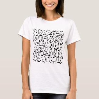Schwarzer u. weißer Musiknoten-T - Shirt