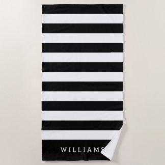 Schwarzer u. weißer Streifen personalisiert Strandtuch