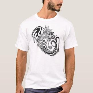 Schwarzer u. weißer verzierter Drache-Entwurf T-Shirt