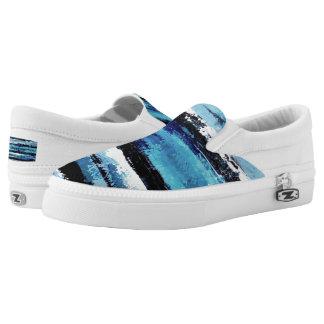 Schwarzer und blauer Beleg auf Turnschuhen Slip-On Sneaker