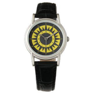 Schwarzer und gelber Sun Armbanduhr