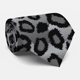 Schwarzer und grauer Jaguar-Druck Bedruckte Krawatte