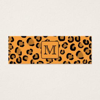 Schwarzer und orange Leopard-Druck. Mini Visitenkarte