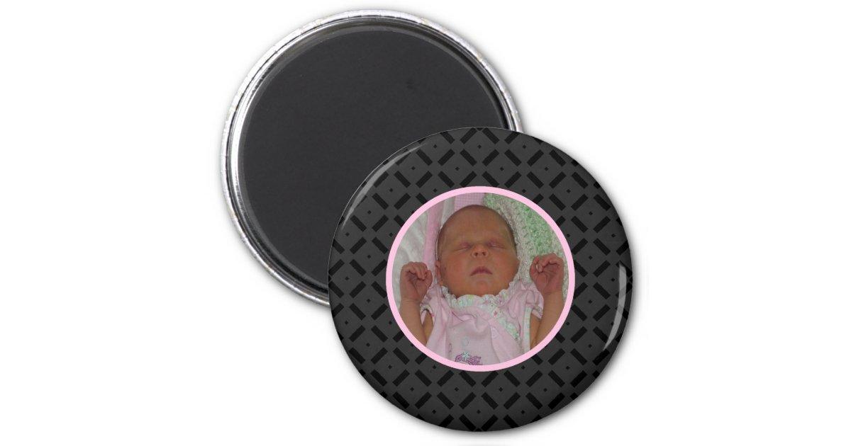 schwarzer und rosa foto magnet runder magnet 5 1 cm zazzle. Black Bedroom Furniture Sets. Home Design Ideas