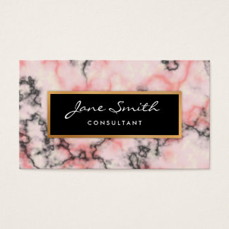 Schwarzer und rosa Marmor, Imitat-Goldfolie Visitenkarte
