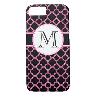Schwarzer und rosa Quatrefoil Monogramm iPhone 7 iPhone 8/7 Hülle